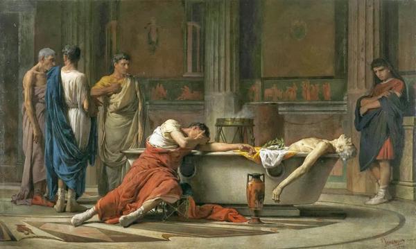 La muerte de Séneca, pintado por Manuel Domínguez en 1871. Expuesto en el Museo del Prado