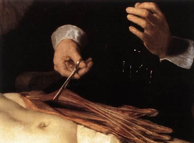 Lección de anatomía del Dr. Nicolaes Tulp, de Rembrandt, 1632 (detalle)