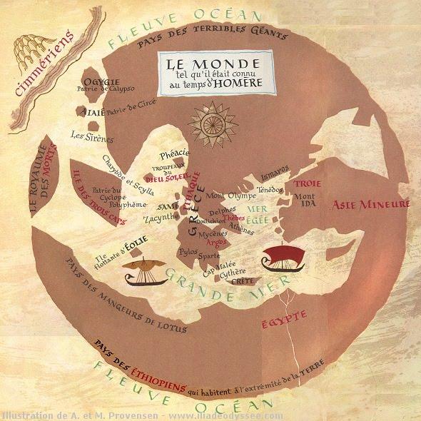 Mapa del mundo en la época de Homero