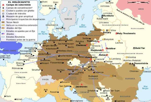 mapa campos nazis